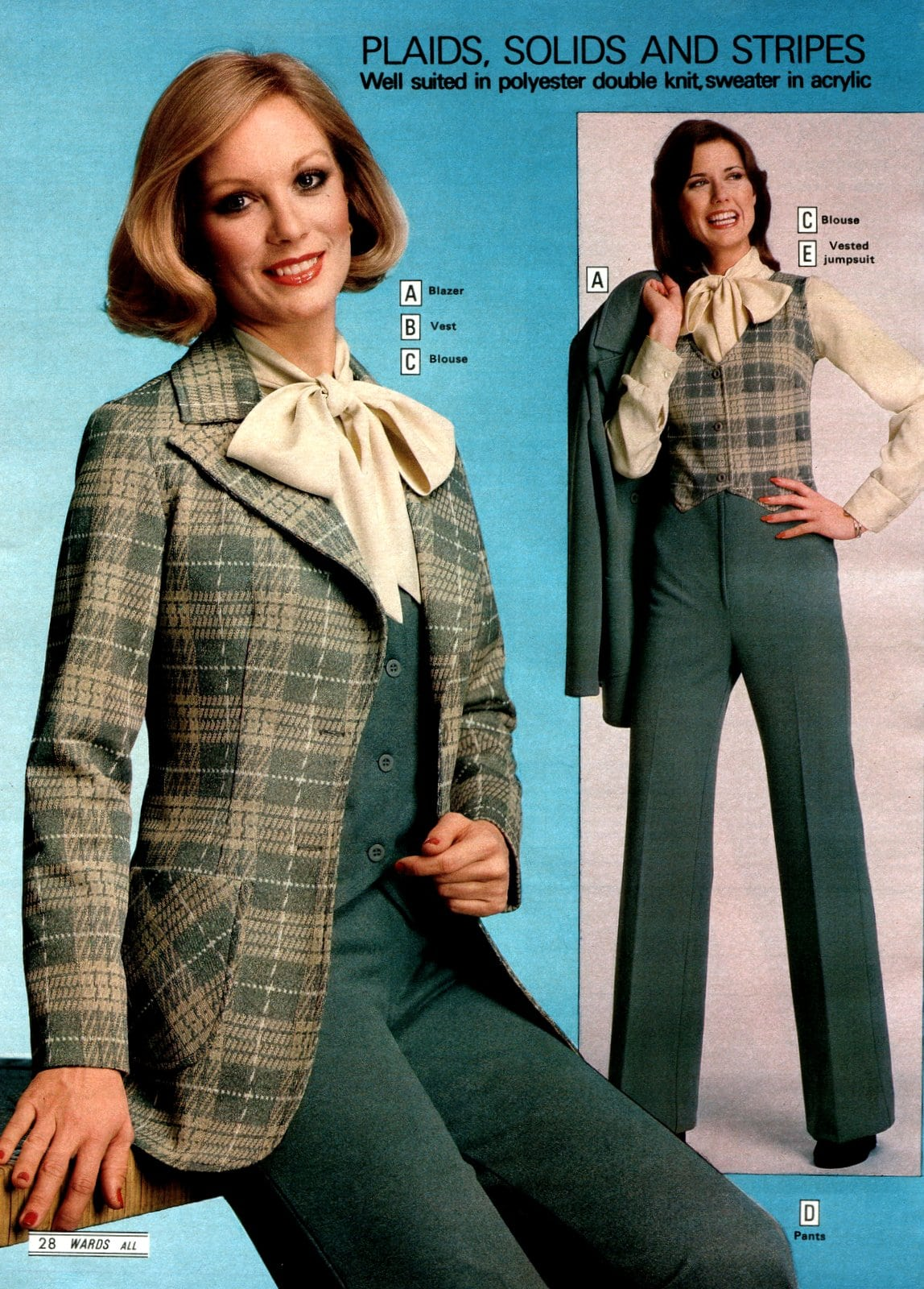 Stylish plaid vintage suits for women from 1979