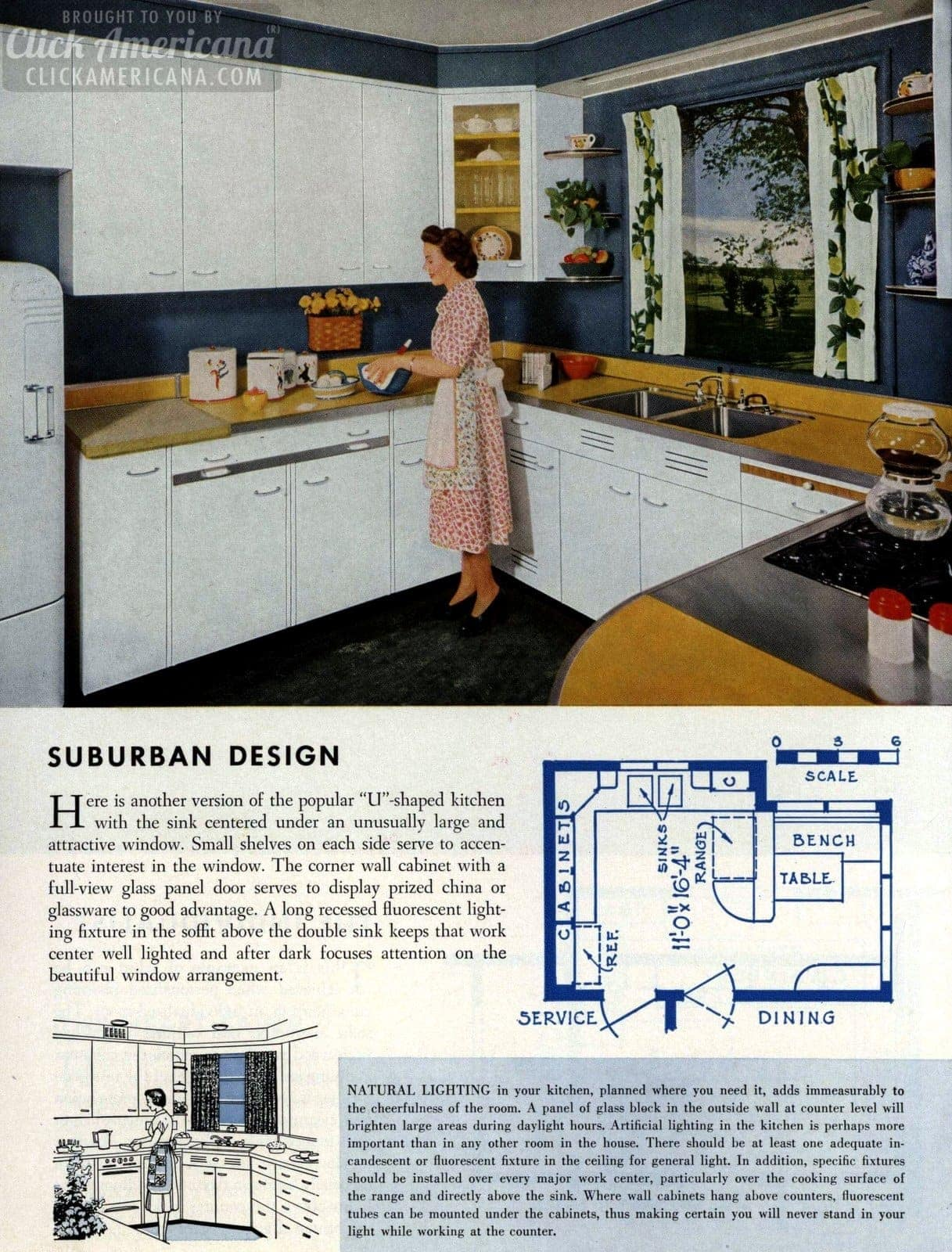 Suburban design Remodeled kitchen design 1954
