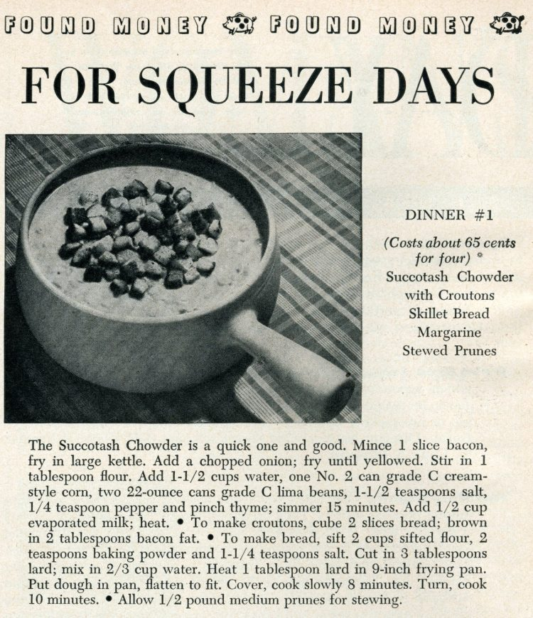 Succotash chowder with croutons budget recipe from 1950