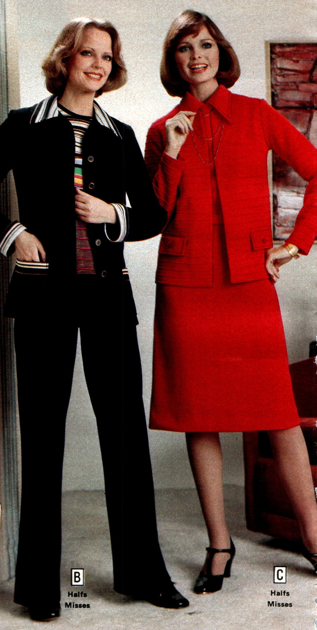 Suits for women from 1979 - Black and red