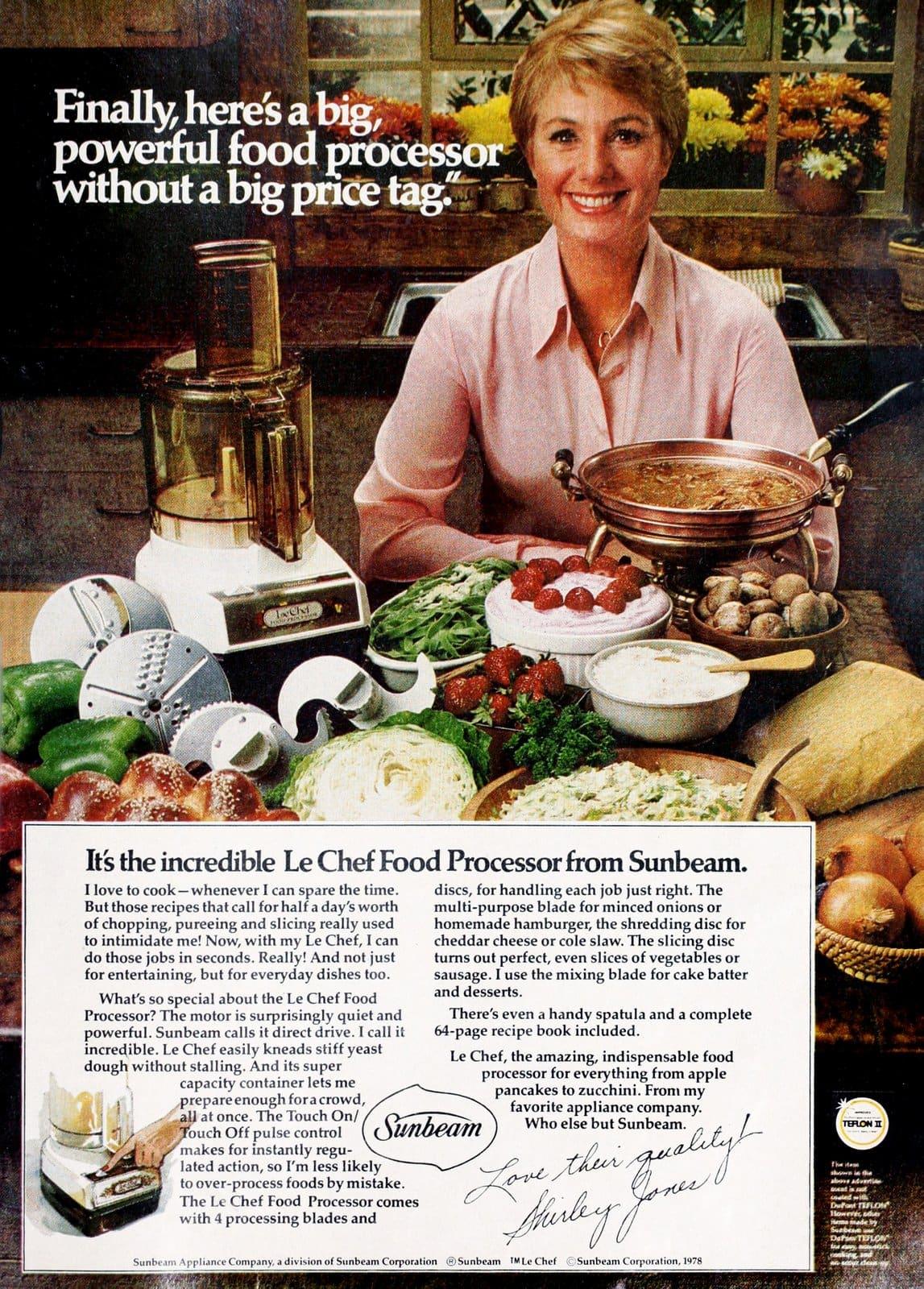 Sunbeam Le Chef food processor - Shirley Jones (1978)