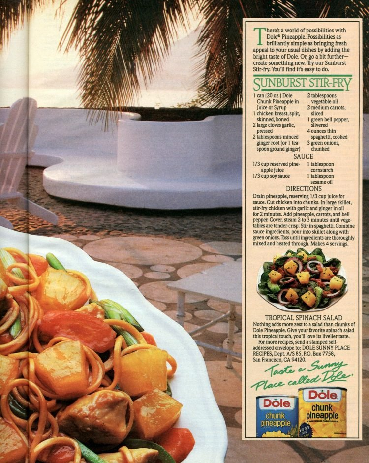 Sunburst chicken stir fry retro recipe from 1985 (2)