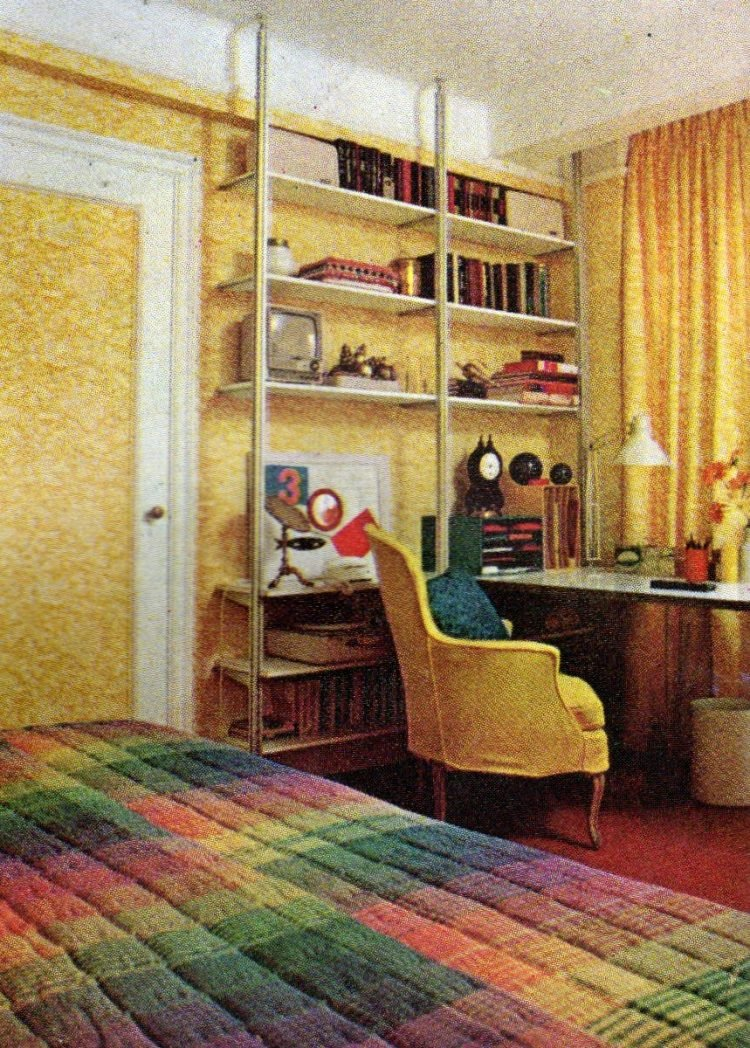 Sunny bright retro bedroom style from 1968