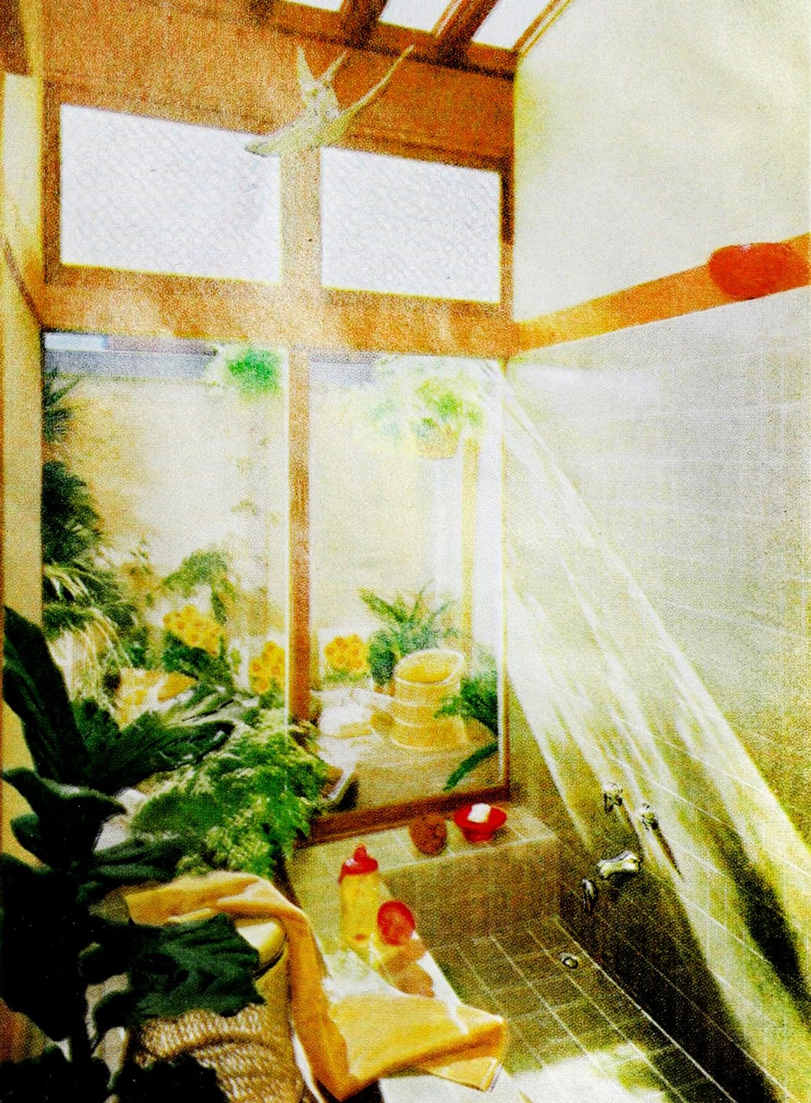 Sunny garden-style bath with plants and tiled open shower (1962)