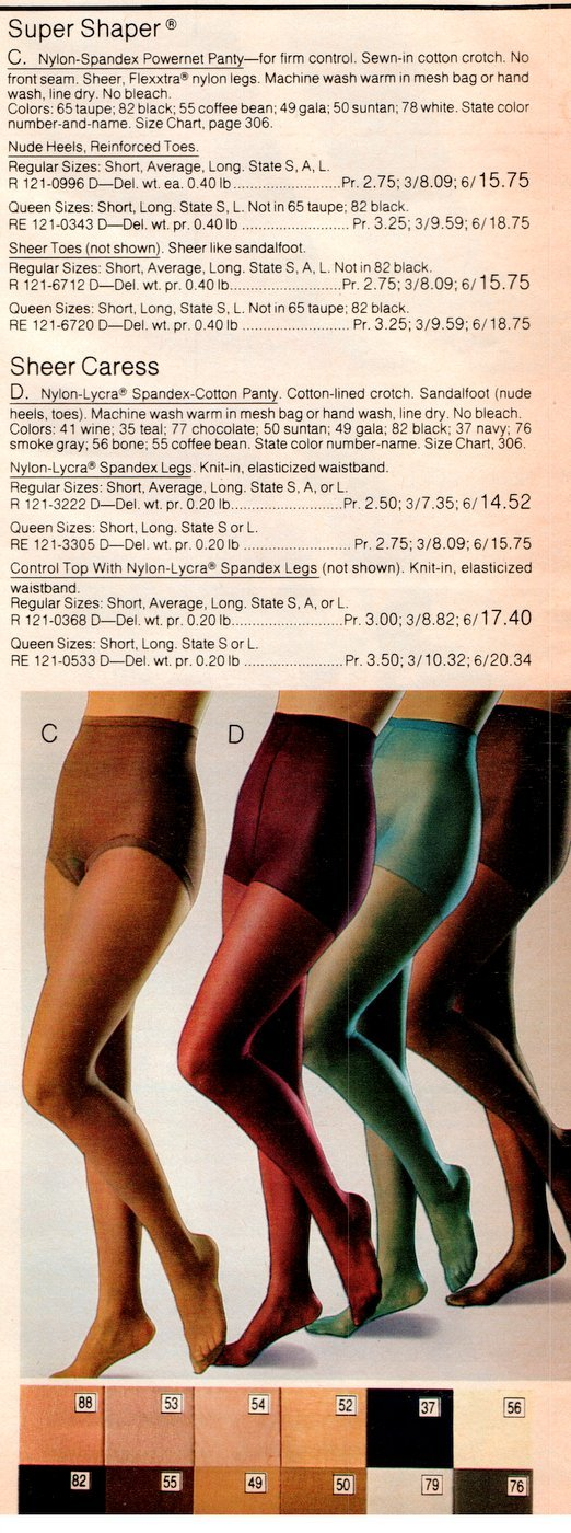 Super Shaper and Sheer Caress pantihose from 1983