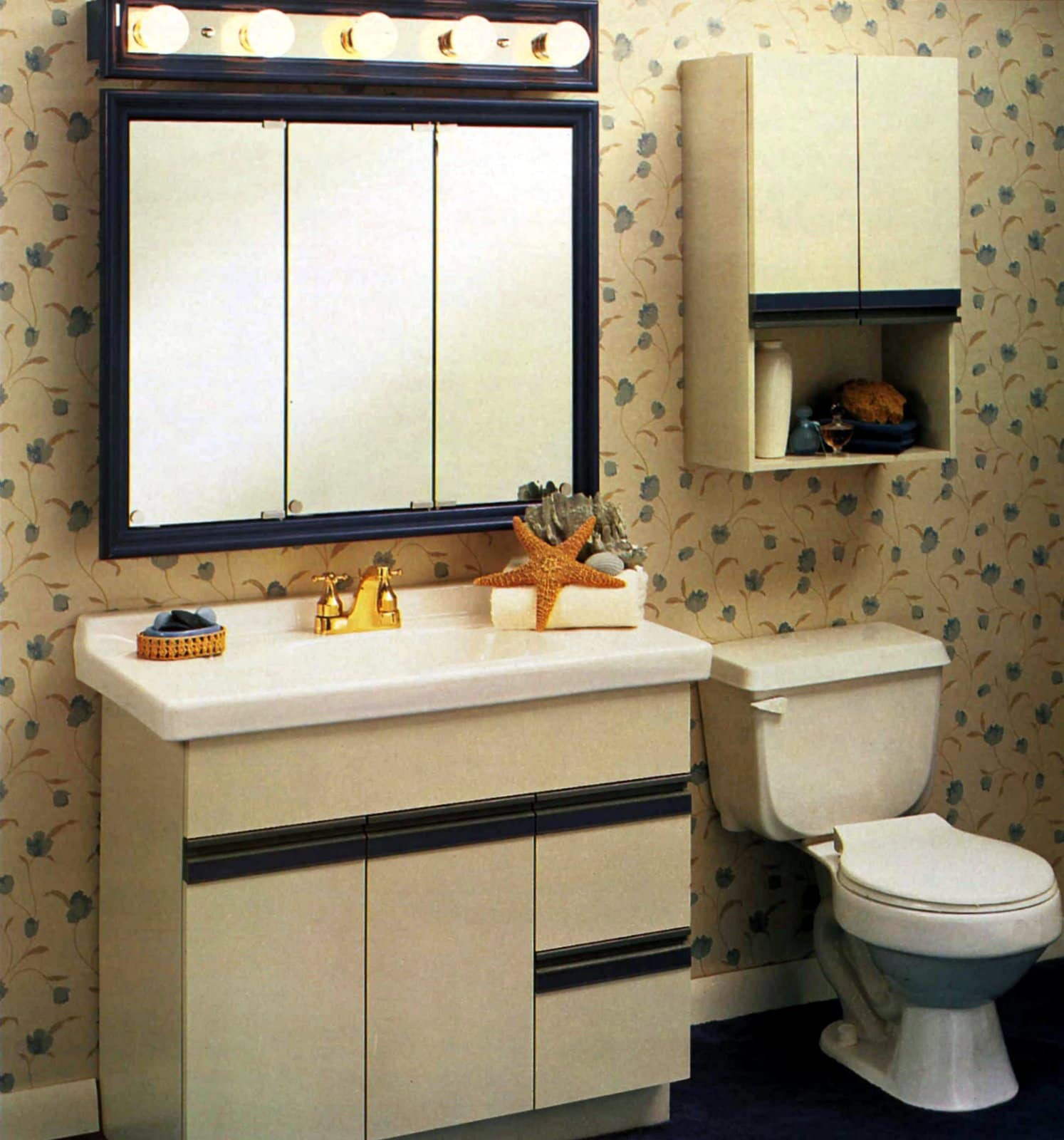 Super basic retro 80s bathroom cabinet and decor from 1988