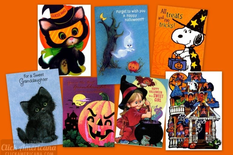 Super-cute ways to say boo Vintage Halloween cards for kids from the 70s 80s