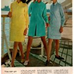Sassy '60s shift dresses with button-down fronts from Wards in 1968