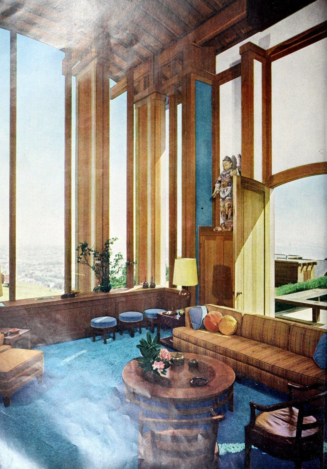 Super high vintage living room ceilings with a view - 60s home decor (1962)