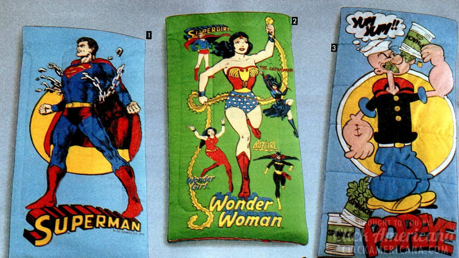 Superheroes Cartoon Characters More On Classic 80s Sleeping Bags Click Americana