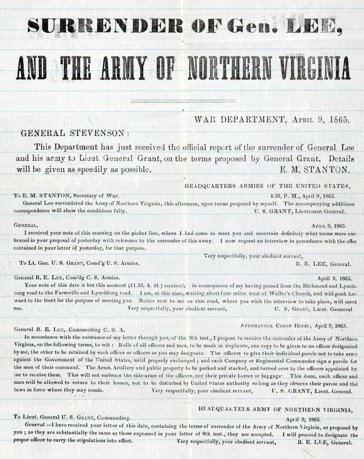 Surrender of Gen. Lee and the Army of Northern Virginia - April 9, 1865