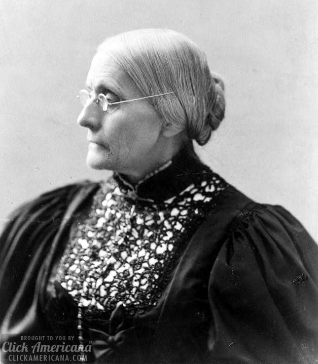 Susan B. Anthony, head-and-shoulders portrait, facing left