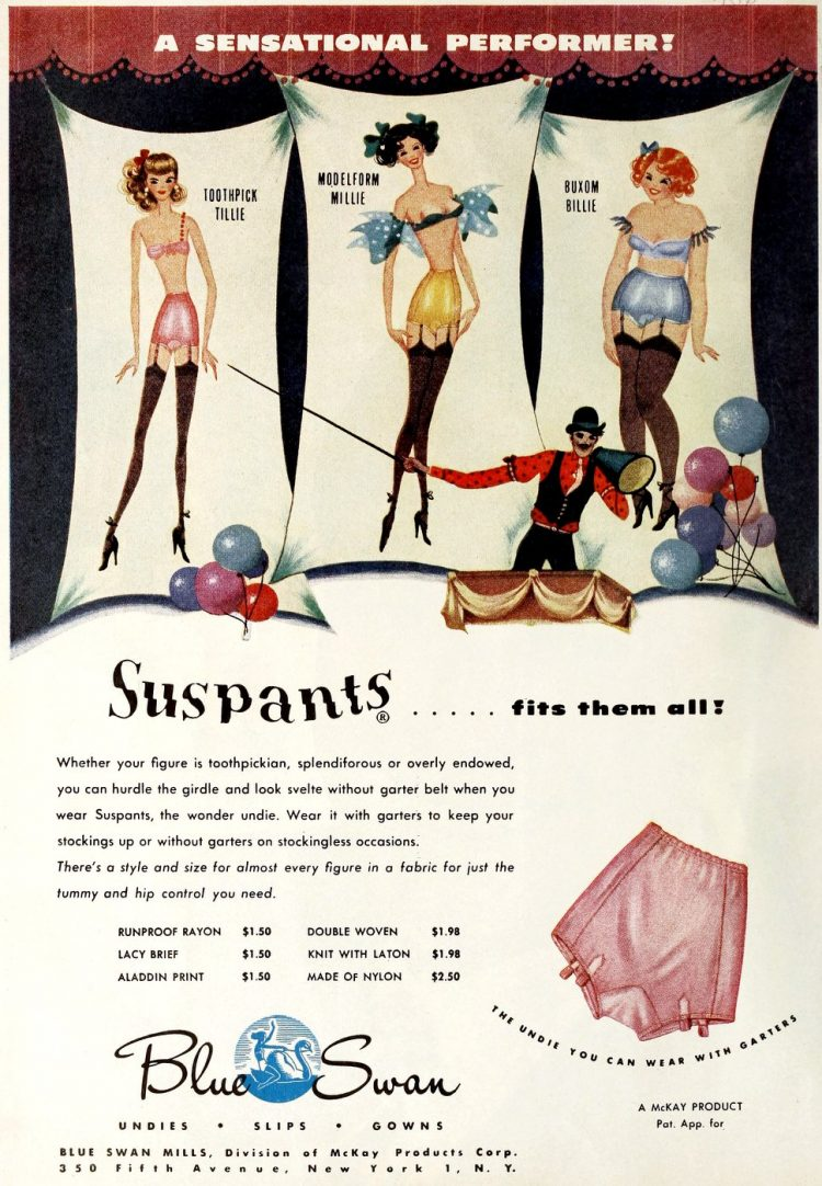 Suspants underwear from 1950 - Bad vintage product names at Click Americana