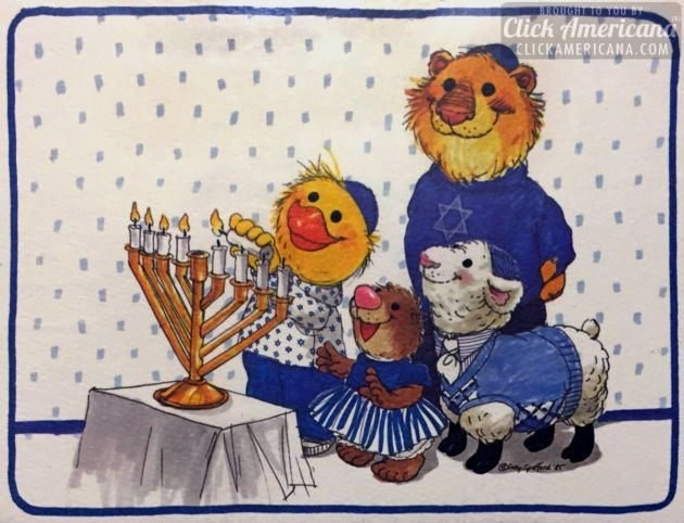 Vintage Hanukkah cards for kids - Suzy's Zoo family greeting card for Hanukkah from 1985