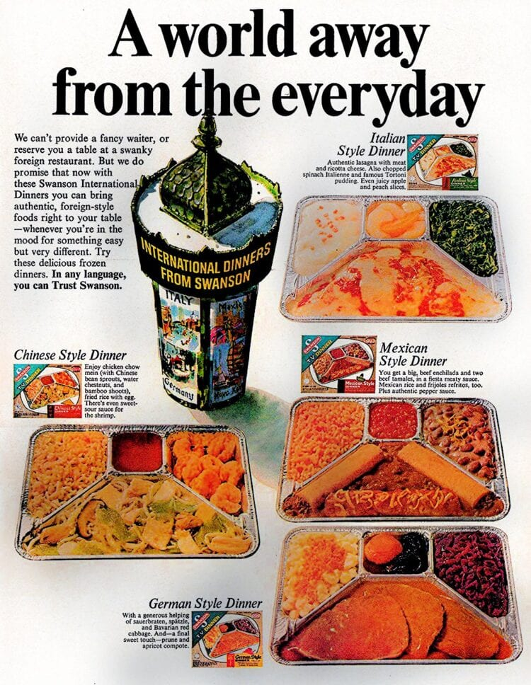 Swanson International frozen TV dinners from 1976 - Italian - Chinese - German - Mexican