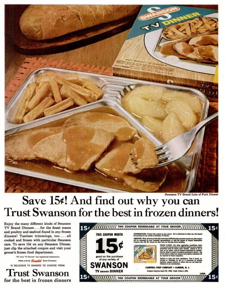 Swanson vintage TV dinners with turkey apples and fries from 1963
