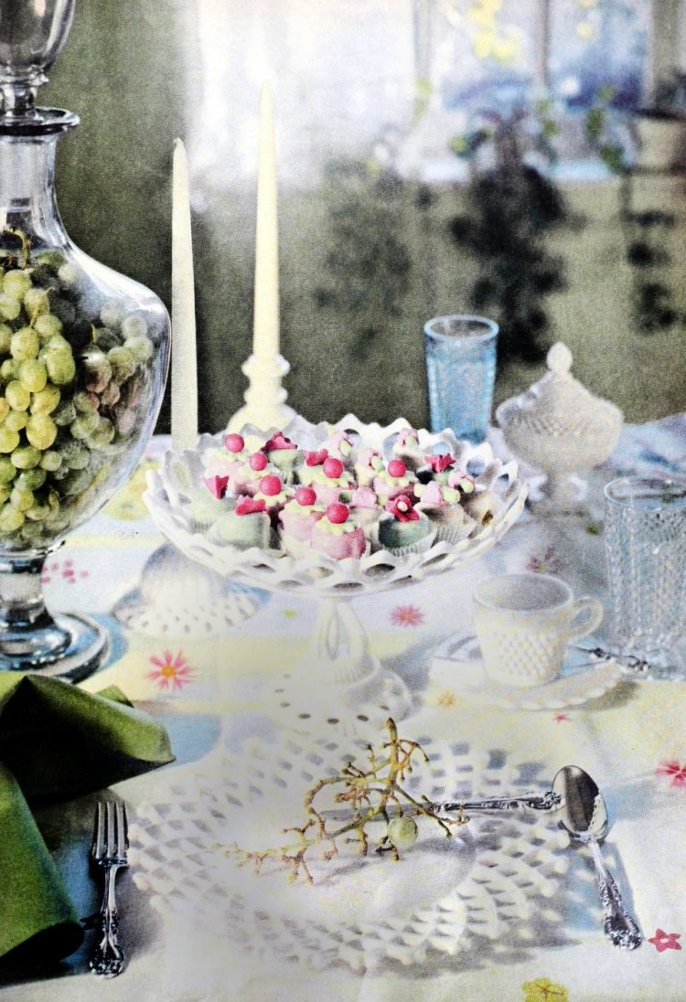 Sweet and elegant placesetting idea with white dishware - from 1956