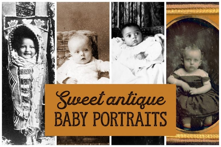 Sweet antique baby portraits