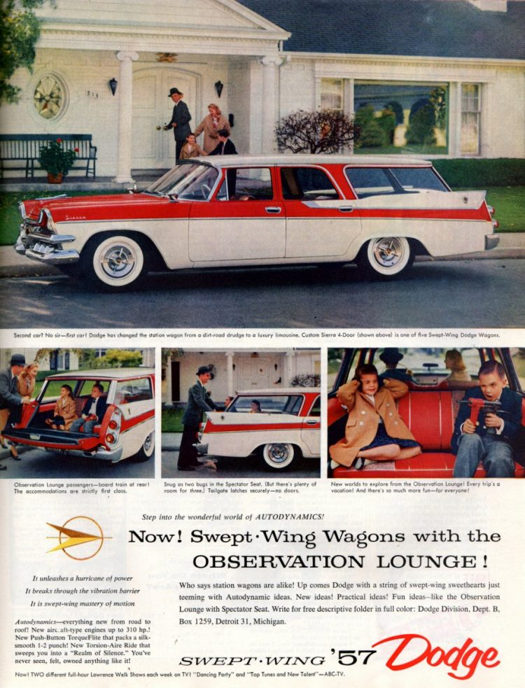 Swept-Wing Dodge station wagons had observation lounge (1957)