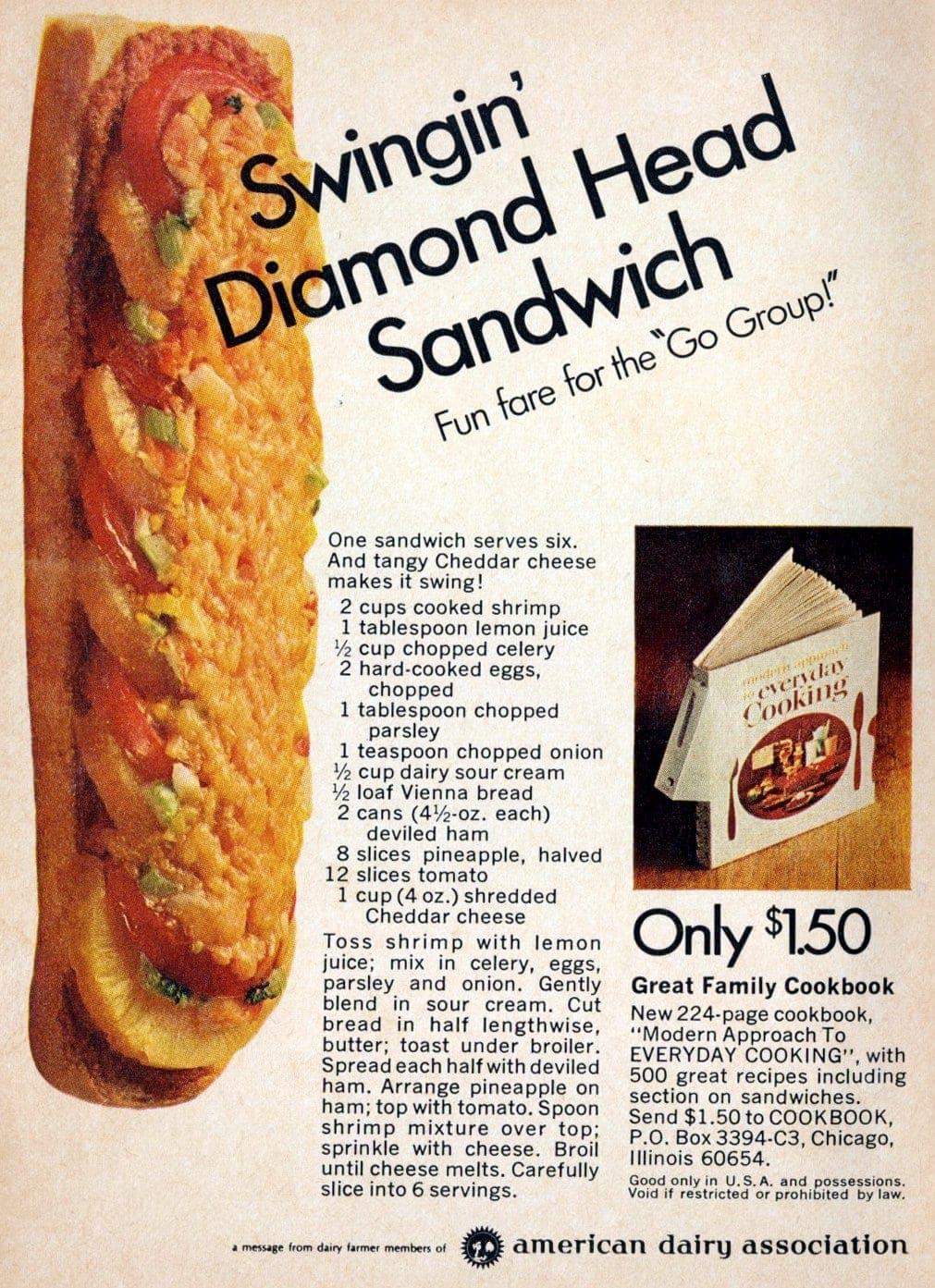 Swingin Diamond Head sandwich recipe - Luau party from the 1960s