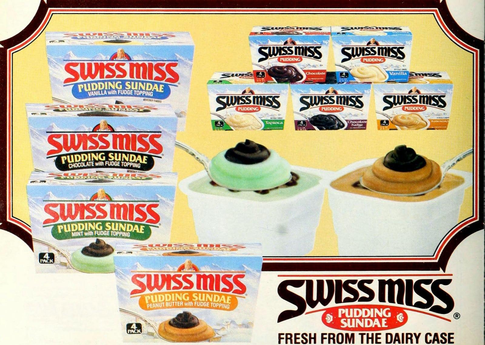 Swiss Miss Pudding Sundae cups (1987)