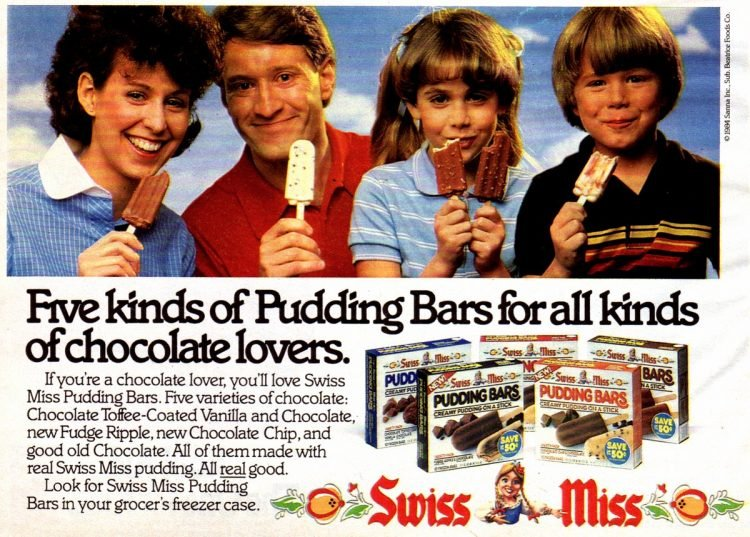 Swiss Miss pudding pops 1982