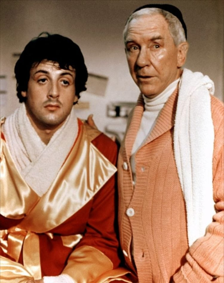 Sylvester Stallone and Burgess Meredith in Rocky