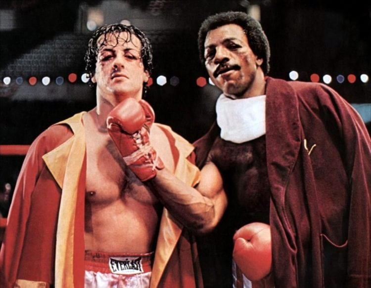 Sylvester Stallone and Carl Weathers in Rocky