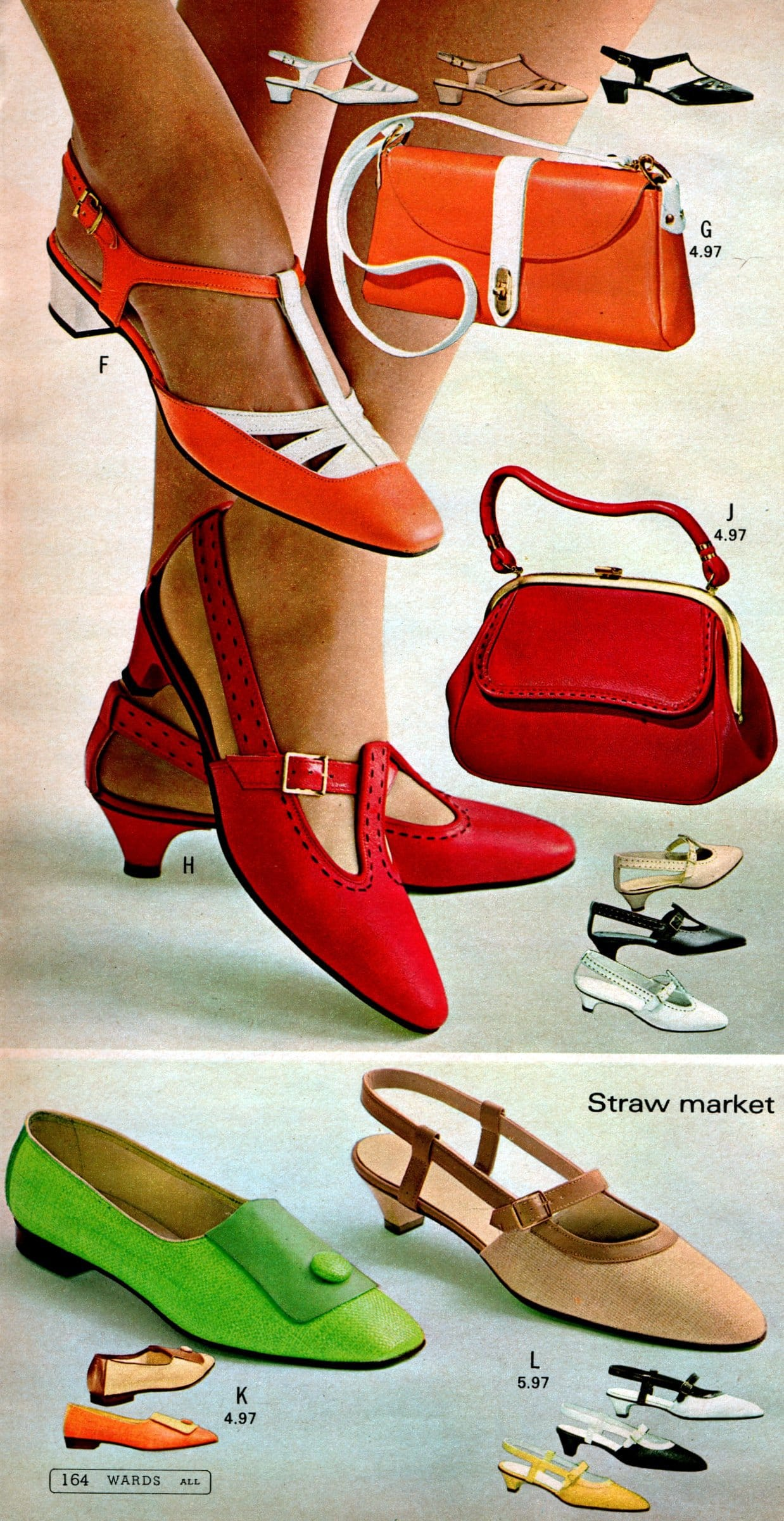 T-strap shoes with tiny heels and blunt toes (1968)