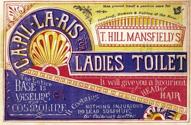 T. Hill Mansfield's Capillaris for ladies toilet c1890s