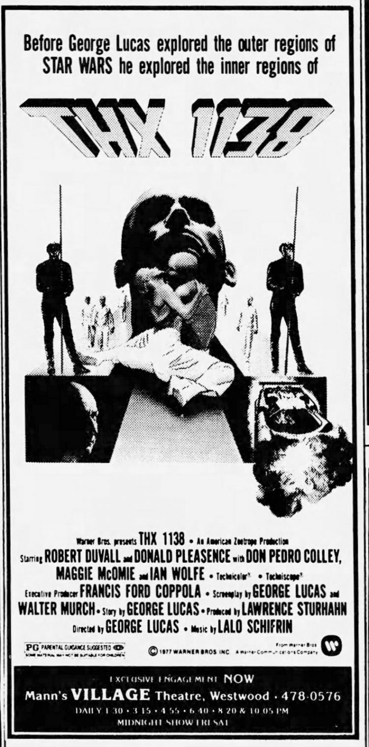 THX 1138 playing in LA in 1977