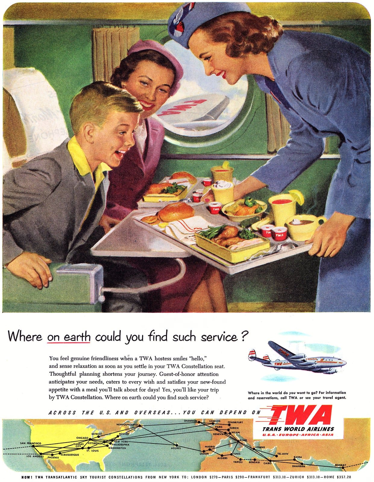 TWA Airlines service 1952