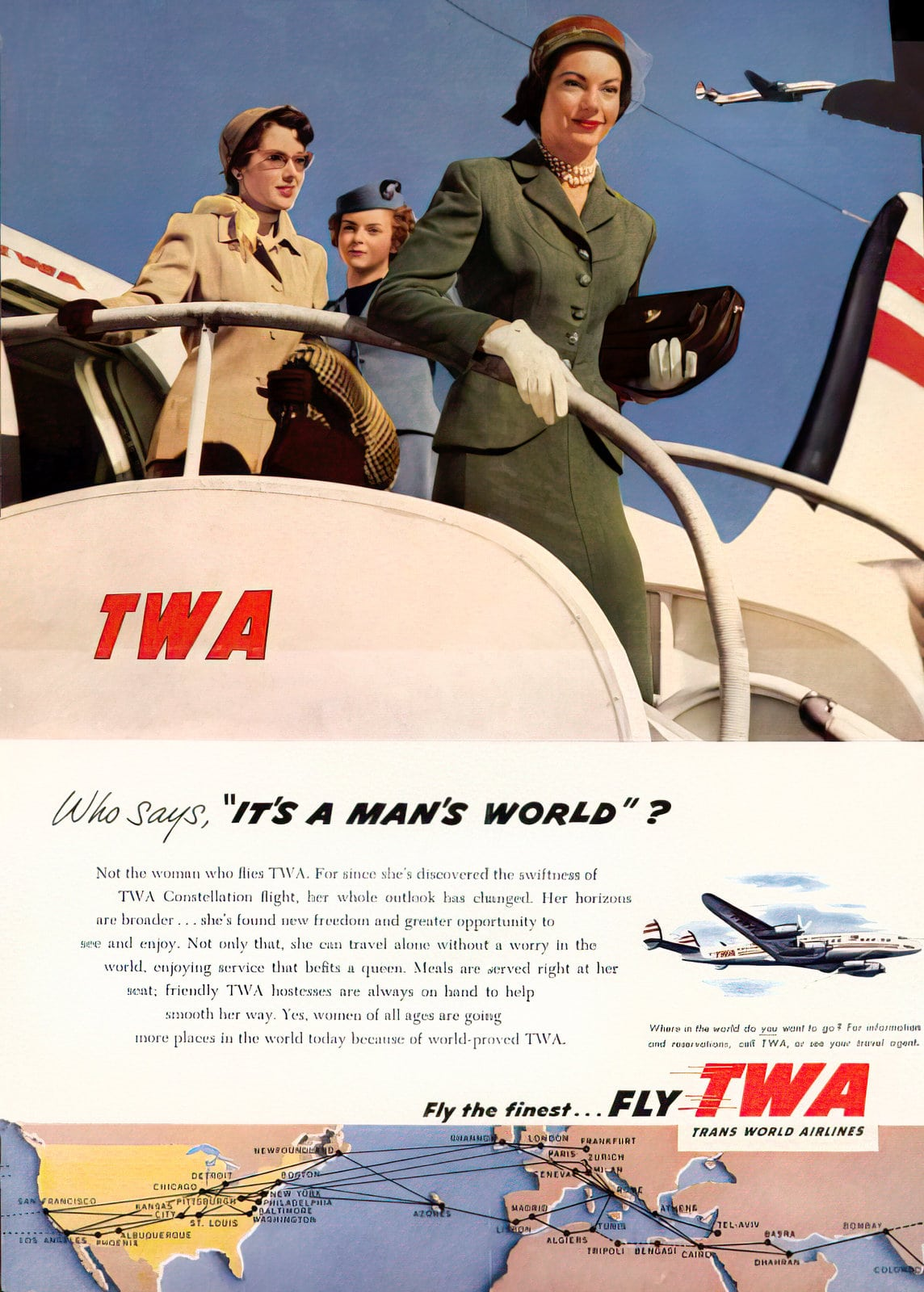 TWA It's a man's world - planes in the 1950s