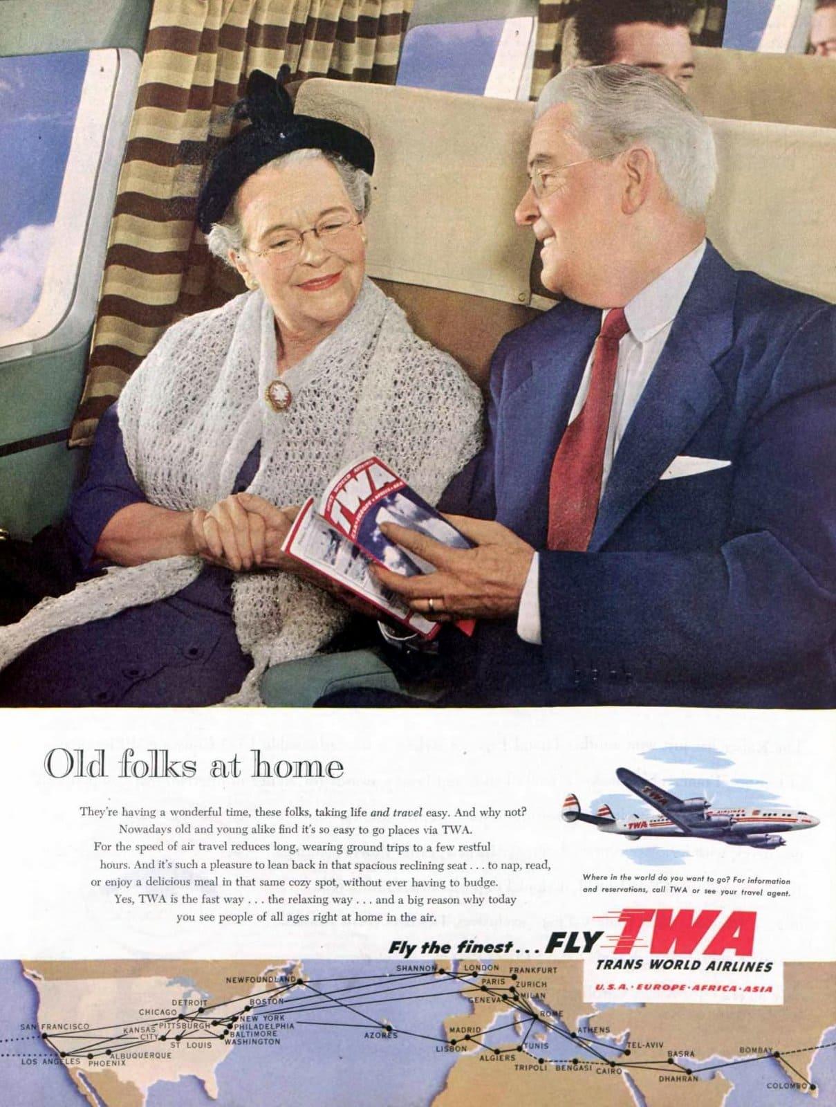 TWA airlines in flight (1953)