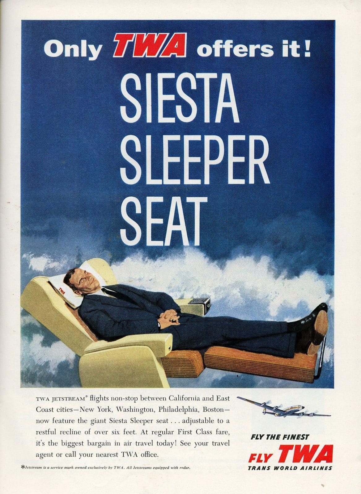 TWA airlines siesta sleeper seat (1958)
