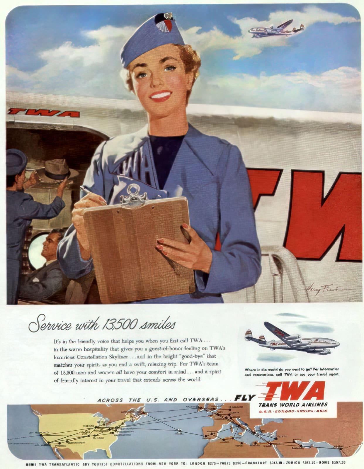 TWA airlines stewardess (1952)