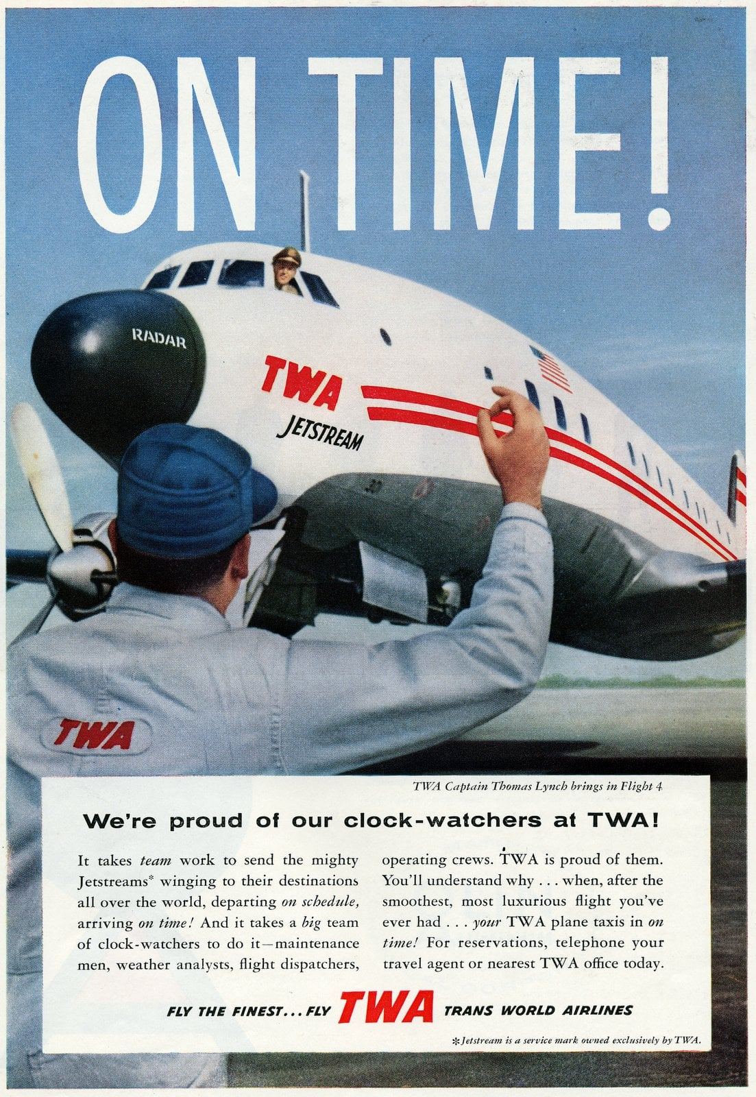 TWA planes are on time (1958)