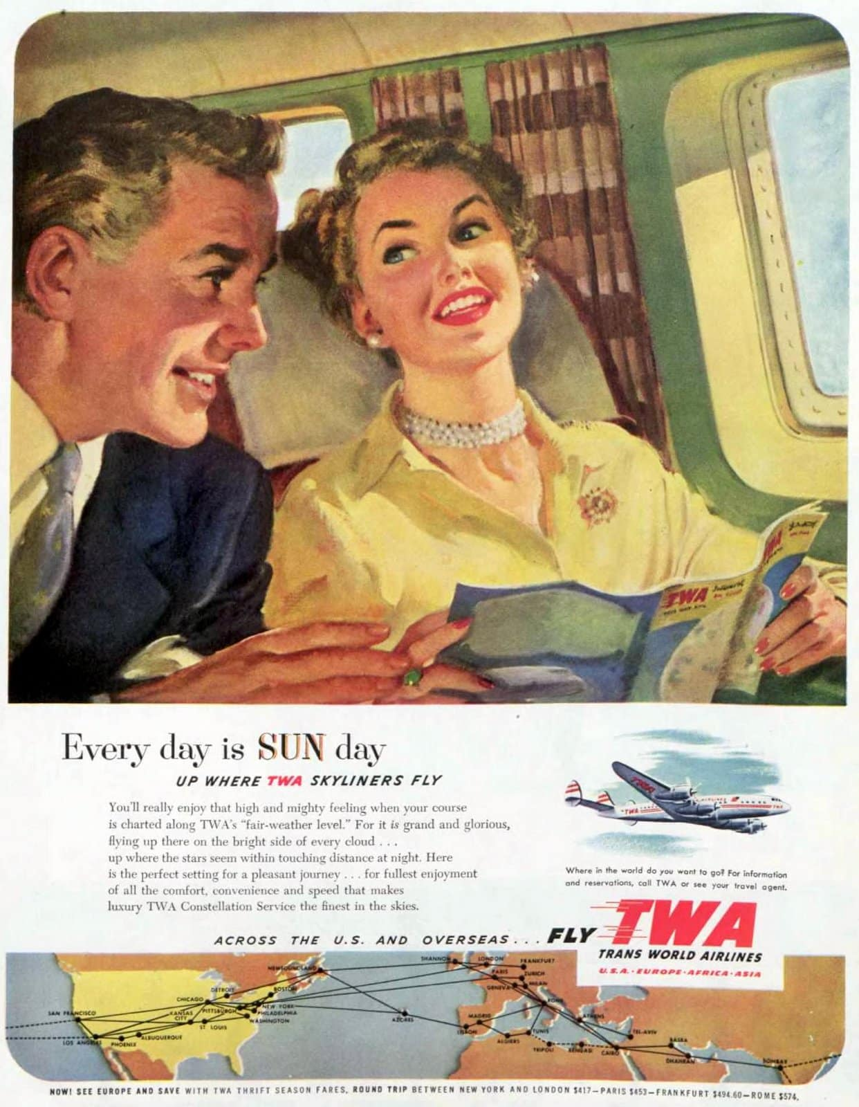 TWA with a happy couple flying (1952)