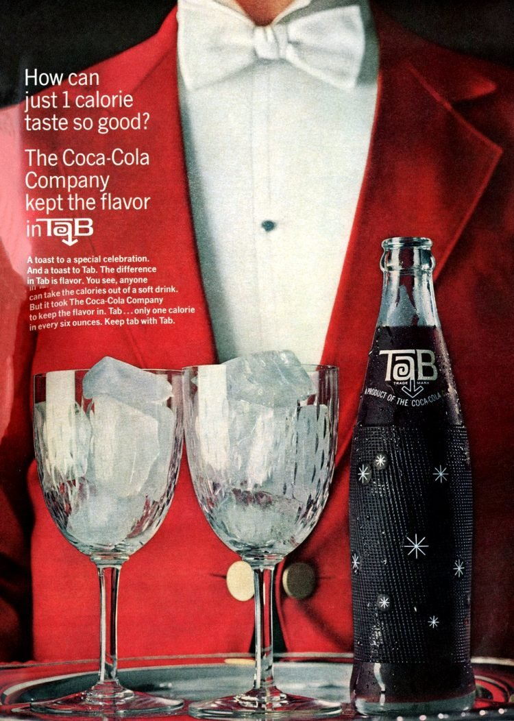 Vintage Tab diet cola on a tray - 1964
