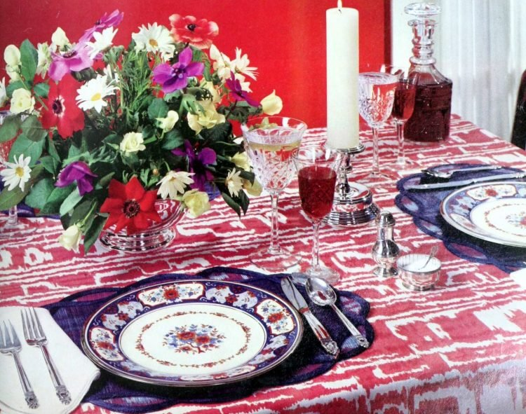 Tablesetting for the first dinner party 1976