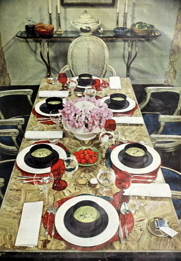 Tablesettings from 1960 with red accents