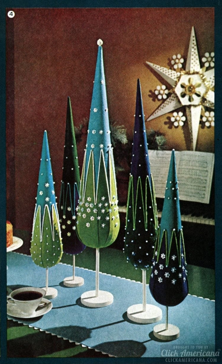 Retro holiday decor - Tabletop Christmas trees - Vintage craft decor