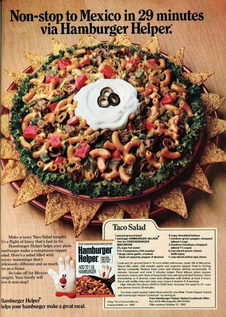 Taco salad with Hamburger Helper (1982)