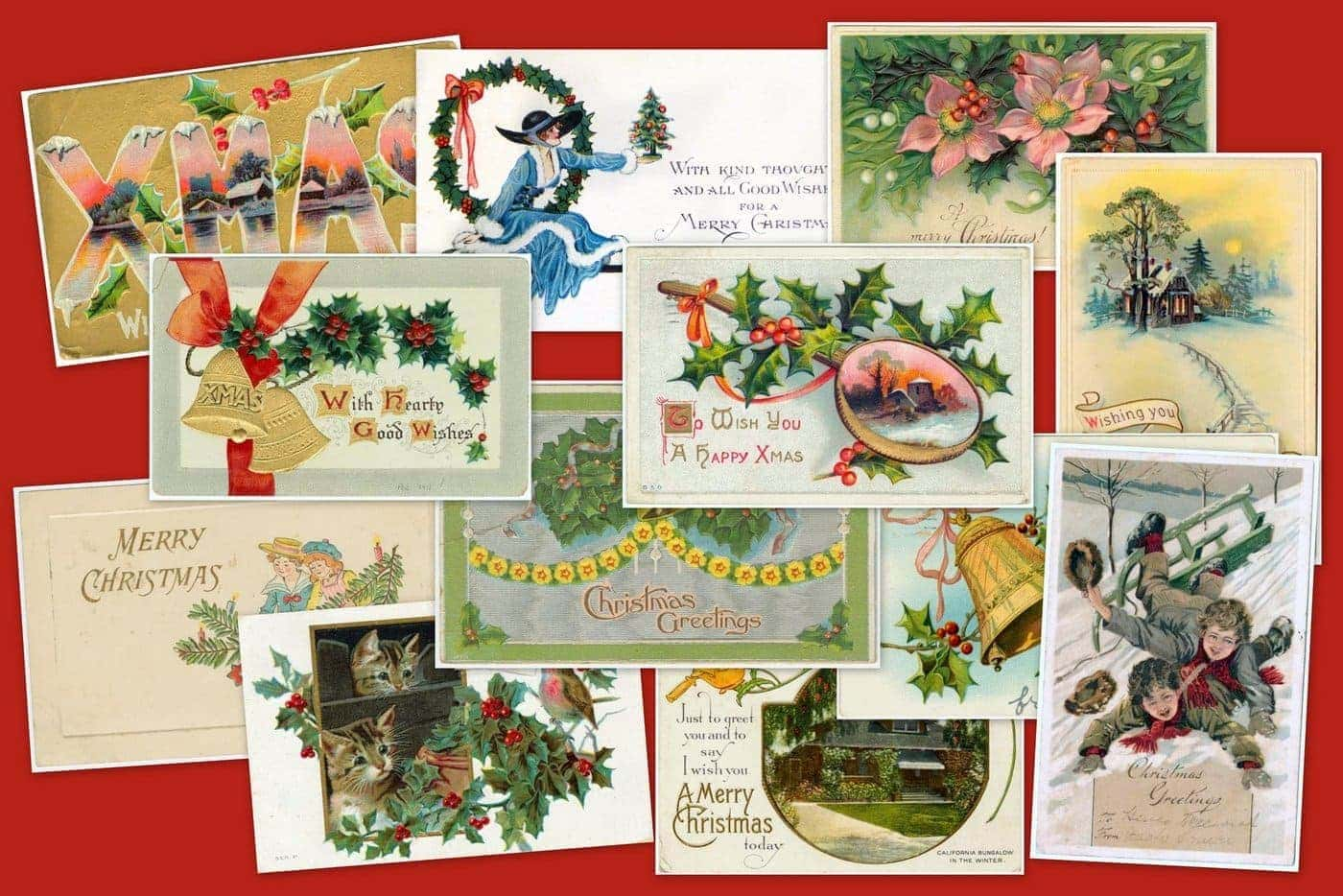take a look back at 50 antique christmas cards from 100