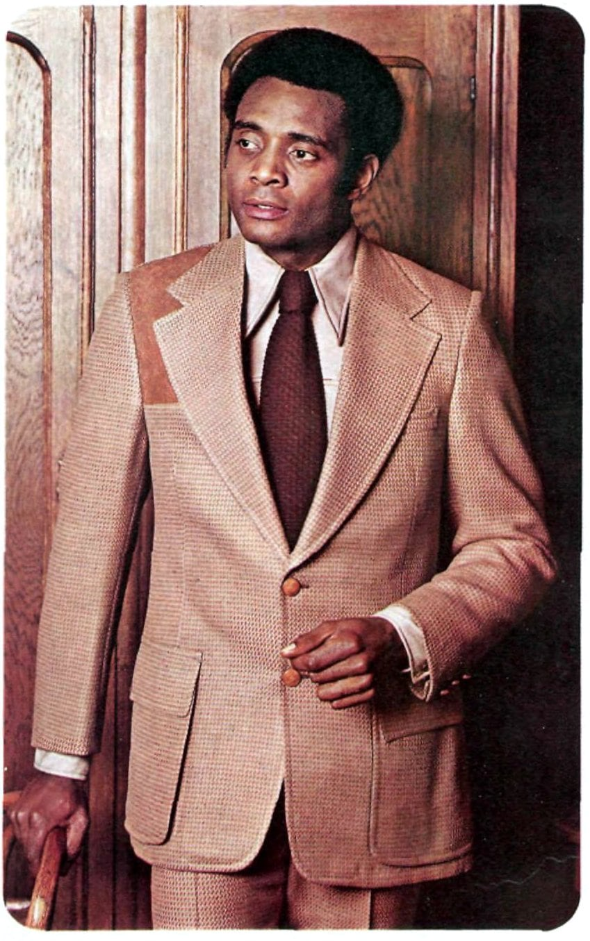 Tan retro 1970s suit with brown tie (1973)