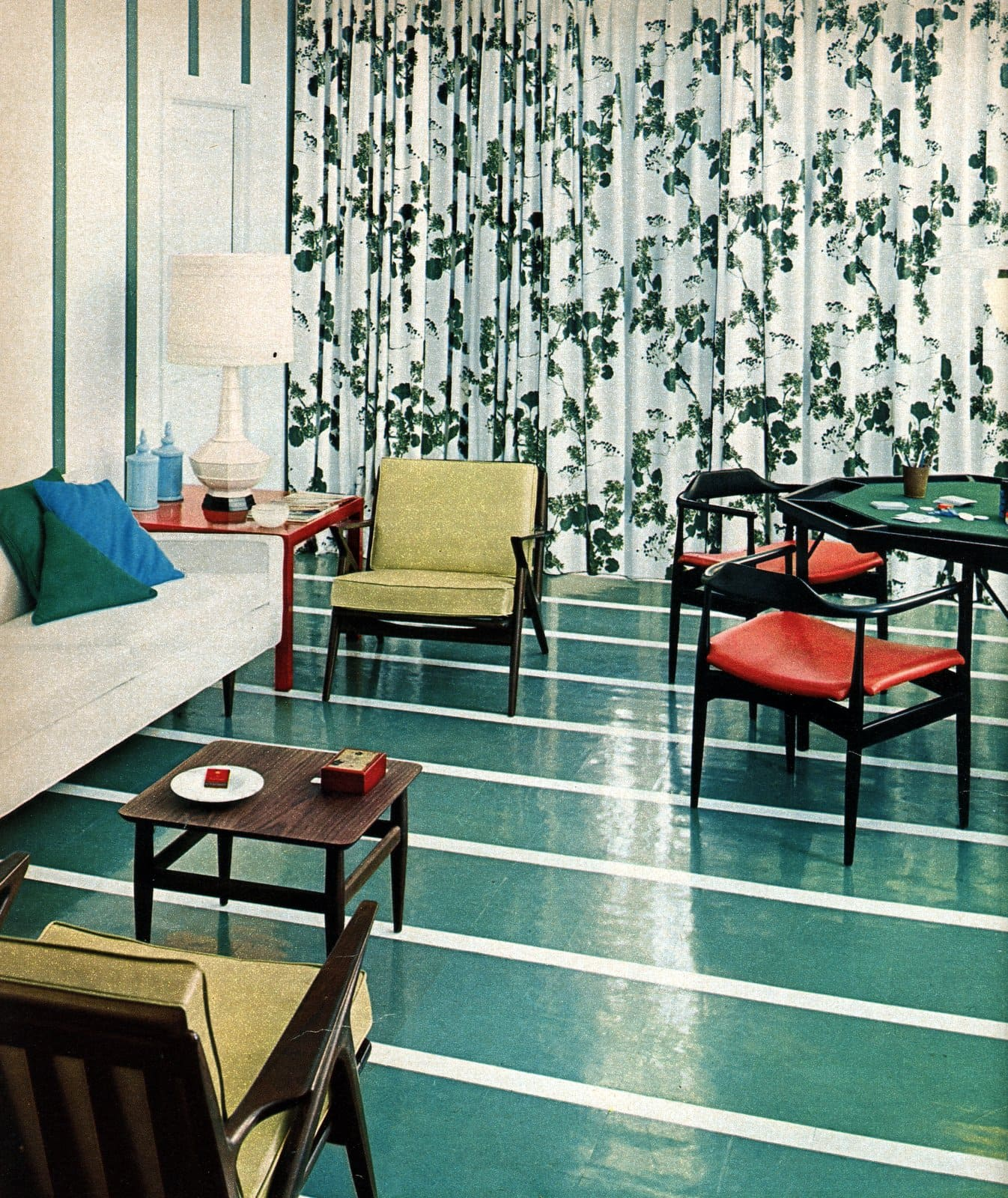 Teal striped living room flooring - Colorful vintage 1950s home decor