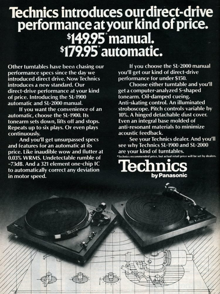 Technics turntables - Panasonic 1977