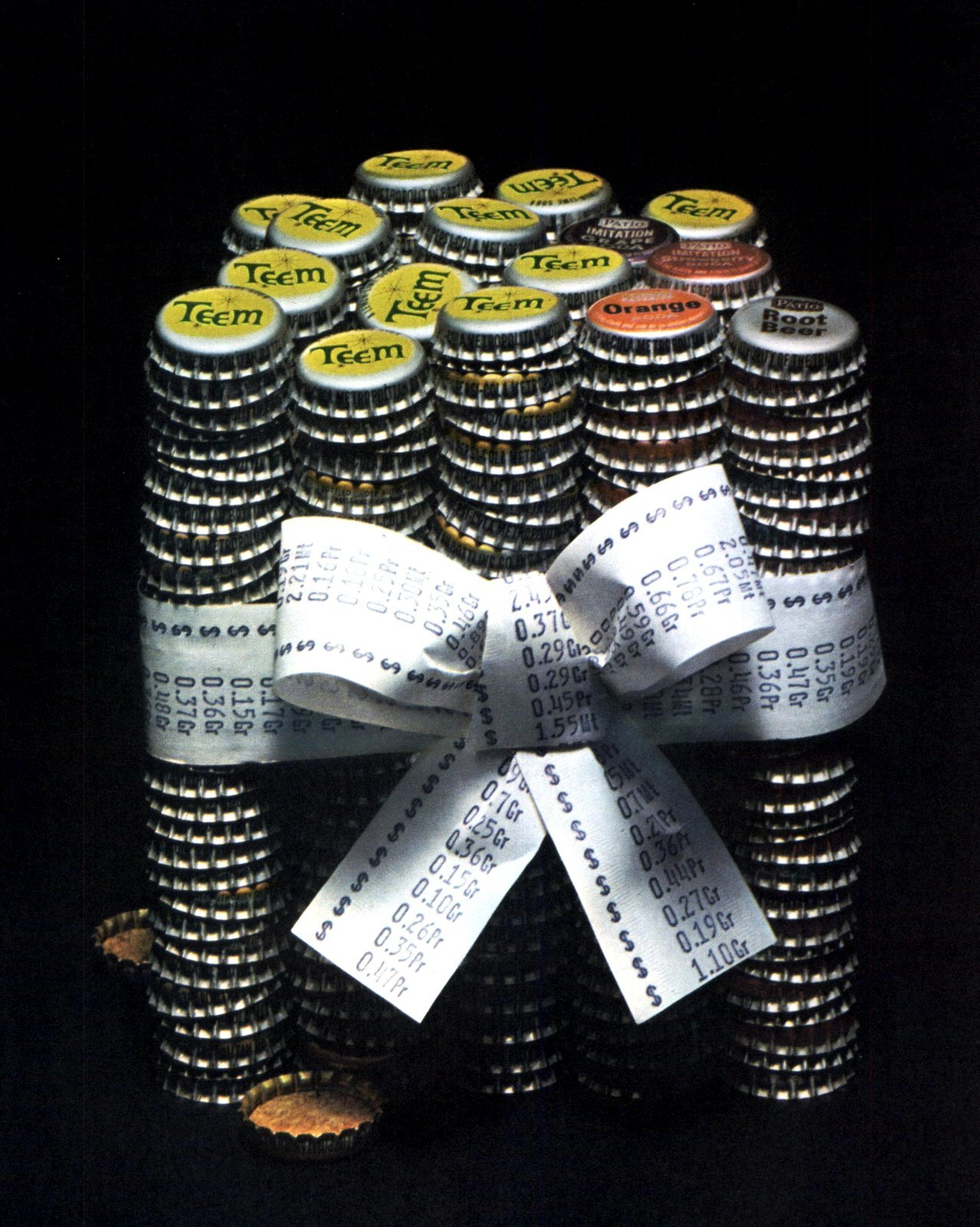 Stacks of old Teem bottlecaps (1962)