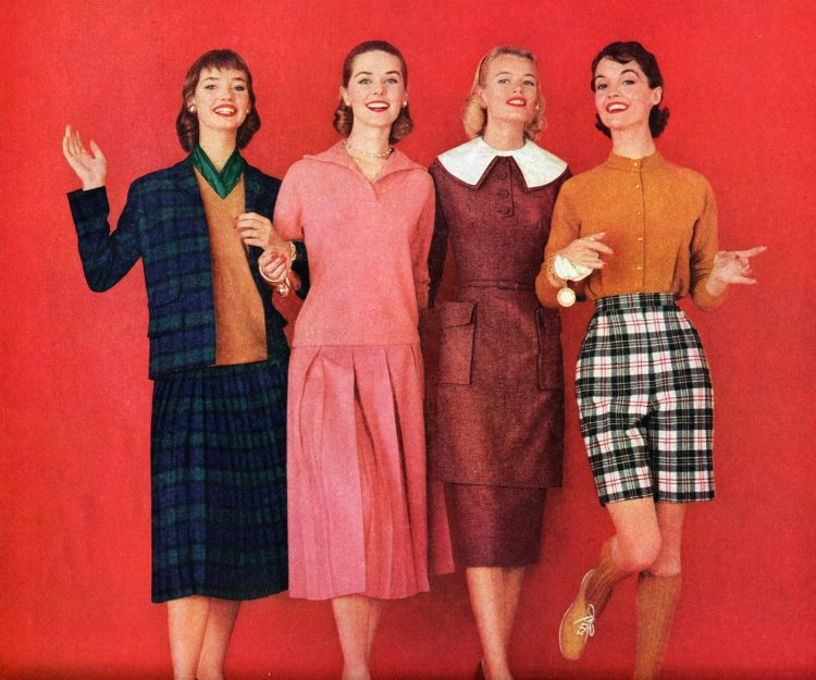 Teen girls dressed up for back to school in 1955