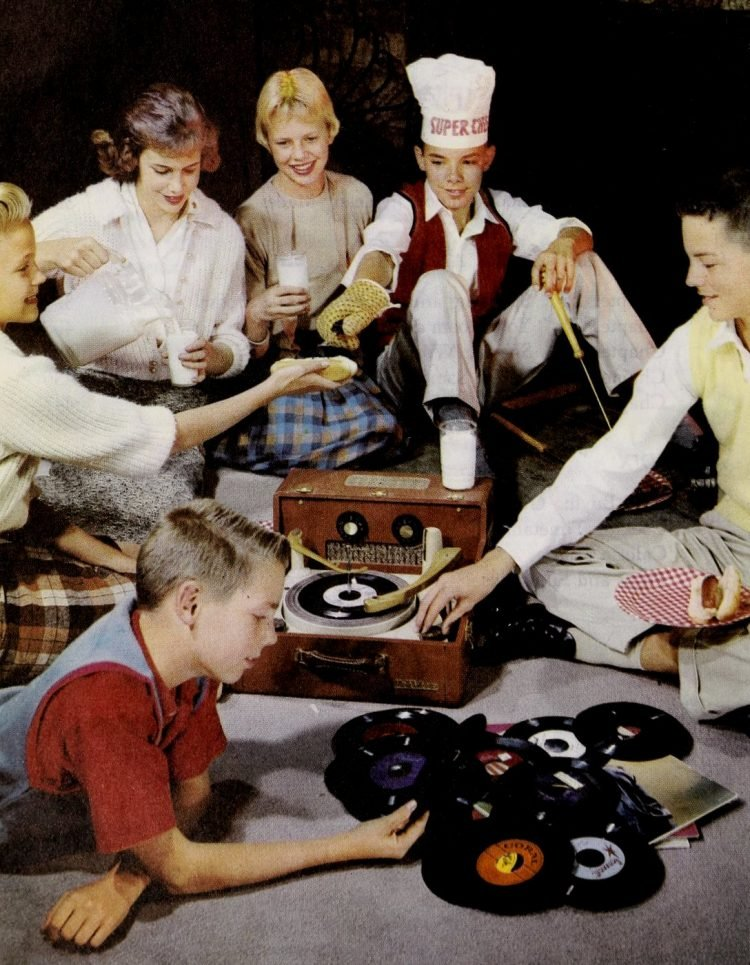 Teen party with records and milk 1950s